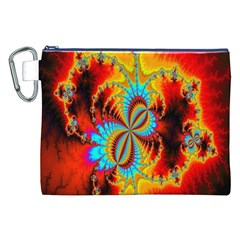 Crazy Mandelbrot Fractal Red Yellow Turquoise Canvas Cosmetic Bag (xxl) by EDDArt