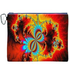 Crazy Mandelbrot Fractal Red Yellow Turquoise Canvas Cosmetic Bag (xxxl) by EDDArt