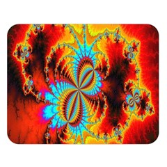Crazy Mandelbrot Fractal Red Yellow Turquoise Double Sided Flano Blanket (Large)