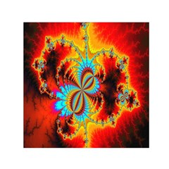 Crazy Mandelbrot Fractal Red Yellow Turquoise Small Satin Scarf (square) by EDDArt