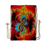 Crazy Mandelbrot Fractal Red Yellow Turquoise Drawstring Bag (Small) Back