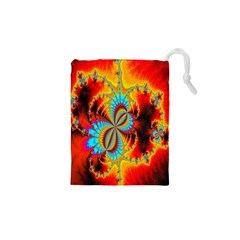Crazy Mandelbrot Fractal Red Yellow Turquoise Drawstring Pouches (xs)