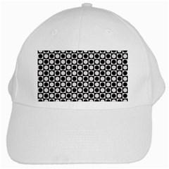 Modern Dots In Squares Mosaic Black White White Cap by EDDArt