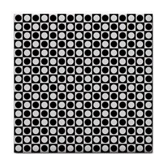 Modern Dots In Squares Mosaic Black White Tile Coasters