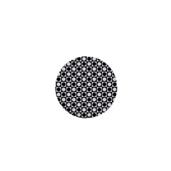 Modern Dots In Squares Mosaic Black White 1  Mini Buttons