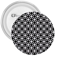 Modern Dots In Squares Mosaic Black White 3  Buttons