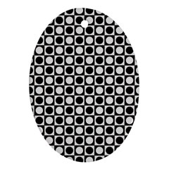 Modern Dots In Squares Mosaic Black White Ornament (oval)  by EDDArt