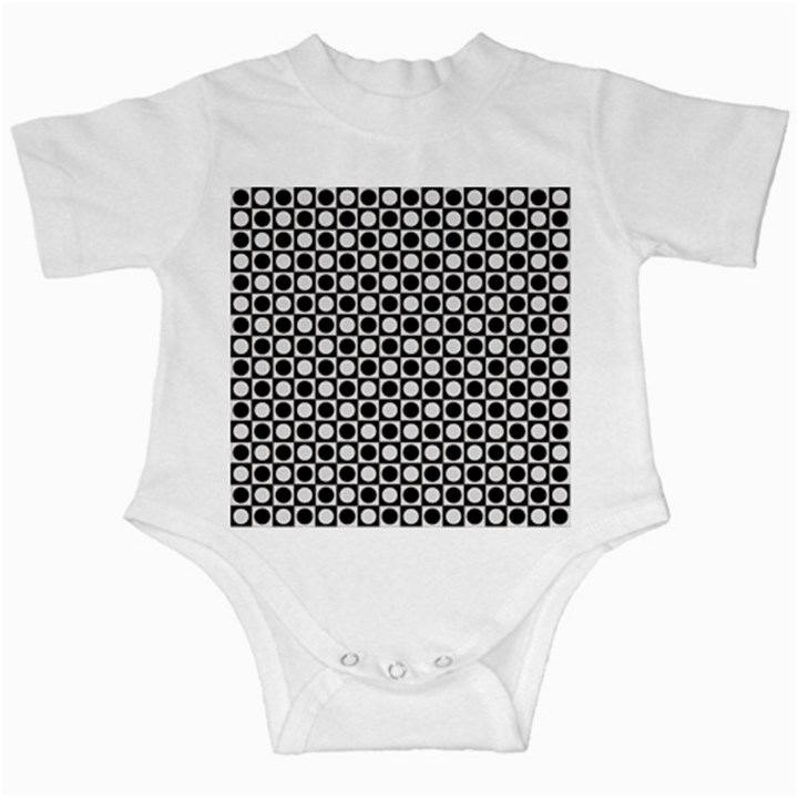 Modern Dots In Squares Mosaic Black White Infant Creepers