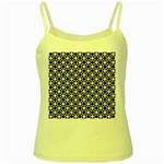 Modern Dots In Squares Mosaic Black White Yellow Spaghetti Tank