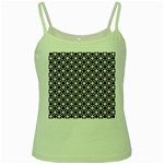 Modern Dots In Squares Mosaic Black White Green Spaghetti Tank Front