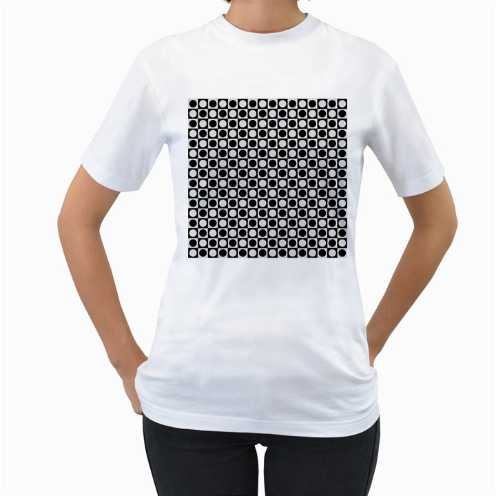 Modern Dots In Squares Mosaic Black White Women s T-Shirt (White) (Two Sided)
