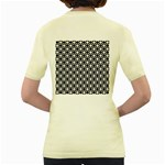 Modern Dots In Squares Mosaic Black White Women s Yellow T-Shirt Back