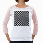 Modern Dots In Squares Mosaic Black White Girly Raglans