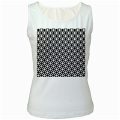 Modern Dots In Squares Mosaic Black White Women s White Tank Top