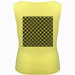 Modern Dots In Squares Mosaic Black White Women s Yellow Tank Top Back