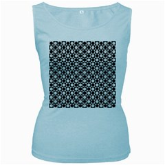 Modern Dots In Squares Mosaic Black White Women s Baby Blue Tank Top