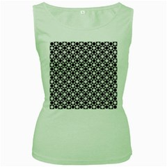 Modern Dots In Squares Mosaic Black White Women s Green Tank Top