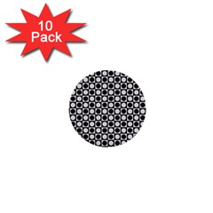 Modern Dots In Squares Mosaic Black White 1  Mini Buttons (10 pack)