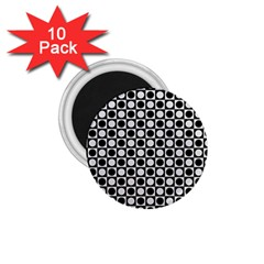 Modern Dots In Squares Mosaic Black White 1 75  Magnets (10 Pack)