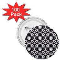 Modern Dots In Squares Mosaic Black White 1 75  Buttons (100 Pack)