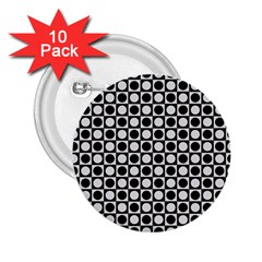 Modern Dots In Squares Mosaic Black White 2.25  Buttons (10 pack)