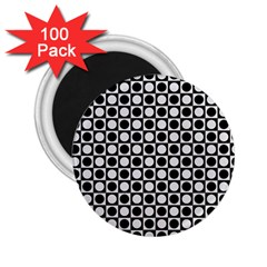 Modern Dots In Squares Mosaic Black White 2 25  Magnets (100 Pack)