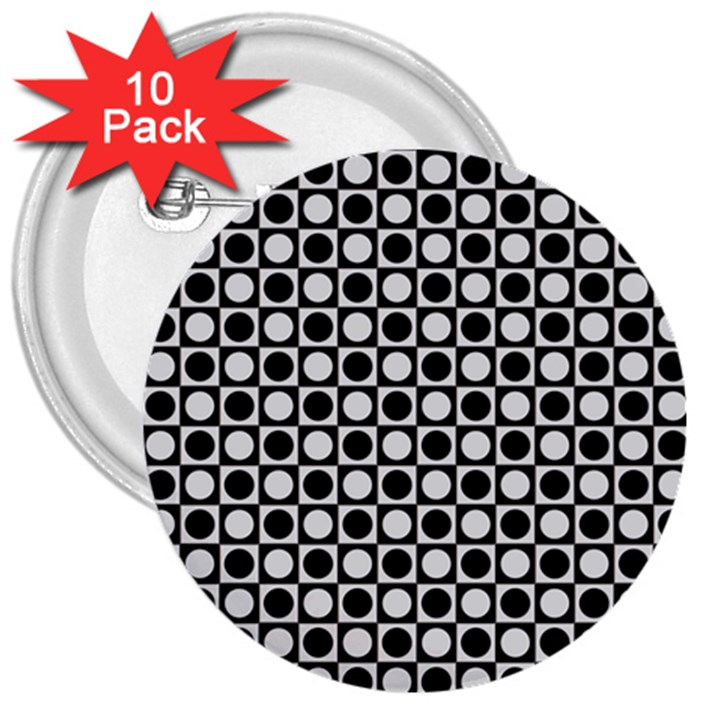 Modern Dots In Squares Mosaic Black White 3  Buttons (10 pack)