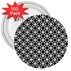 Modern Dots In Squares Mosaic Black White 3  Buttons (100 pack)