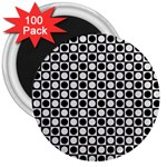 Modern Dots In Squares Mosaic Black White 3  Magnets (100 pack)