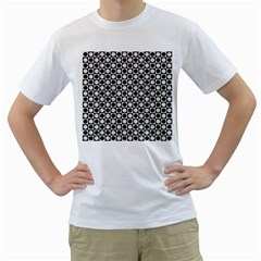 Modern Dots In Squares Mosaic Black White Men s T-Shirt (White) (Two Sided)