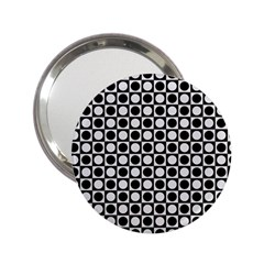 Modern Dots In Squares Mosaic Black White 2 25  Handbag Mirrors