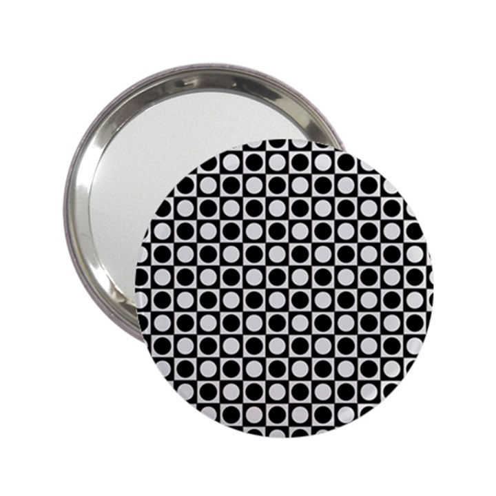 Modern Dots In Squares Mosaic Black White 2.25  Handbag Mirrors