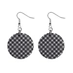 Modern Dots In Squares Mosaic Black White Mini Button Earrings