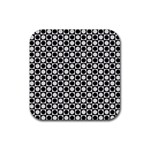 Modern Dots In Squares Mosaic Black White Rubber Coaster (Square)