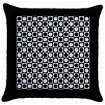 Modern Dots In Squares Mosaic Black White Throw Pillow Case (Black)