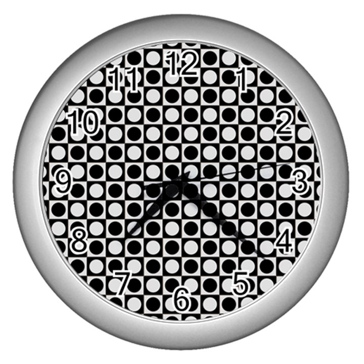 Modern Dots In Squares Mosaic Black White Wall Clocks (Silver)