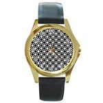 Modern Dots In Squares Mosaic Black White Round Gold Metal Watch