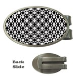 Modern Dots In Squares Mosaic Black White Money Clips (Oval)