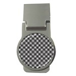 Modern Dots In Squares Mosaic Black White Money Clips (Round)