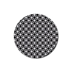 Modern Dots In Squares Mosaic Black White Rubber Coaster (Round)
