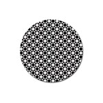 Modern Dots In Squares Mosaic Black White Magnet 3  (Round) Front
