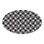 Modern Dots In Squares Mosaic Black White Oval Magnet