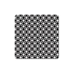 Modern Dots In Squares Mosaic Black White Square Magnet