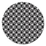 Modern Dots In Squares Mosaic Black White Magnet 5  (Round) Front
