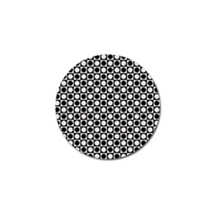 Modern Dots In Squares Mosaic Black White Golf Ball Marker (10 pack)