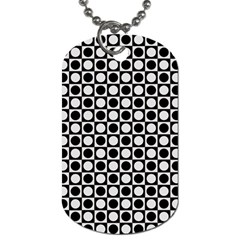 Modern Dots In Squares Mosaic Black White Dog Tag (Two Sides)