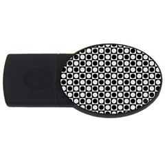 Modern Dots In Squares Mosaic Black White Usb Flash Drive Oval (2 Gb)  by EDDArt