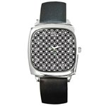 Modern Dots In Squares Mosaic Black White Square Metal Watch