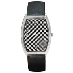 Modern Dots In Squares Mosaic Black White Barrel Style Metal Watch