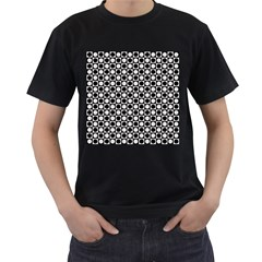 Modern Dots In Squares Mosaic Black White Men s T-Shirt (Black) (Two Sided)